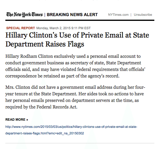 NYT Headline Clinton Use of Private Email